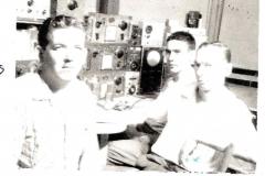 (L) Jim Arrington K4EWE SK with 2 unknown Magnavox engineers